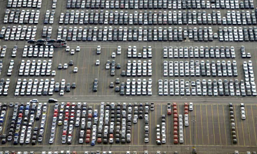 Cars at the shipping terminal in Bremerhaven