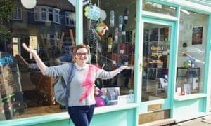 Rosie Fletcher in front of her haberdashery shop Slipstitch in Muswell Hill, North London.
