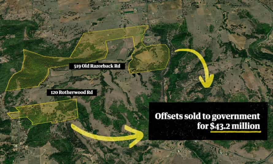 Map showing the two parcels of western Sydney land owned by Meridolum No 1 that have earned more than $40m in conservation offsets