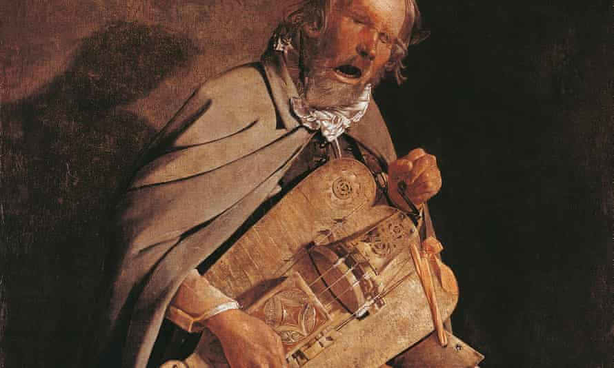 The Hurdy-gurdy player with hat, by Georges de la Tour.