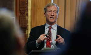 Tom Steyer made his announcement in Des Moines, Iowa.