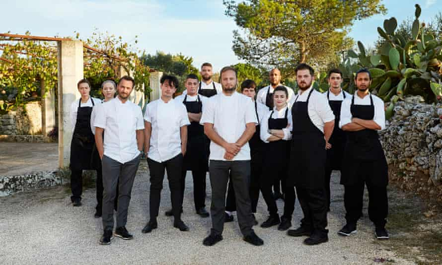 Jason Atherton with his chefs and his team of young cooks in The Chef's Brigade