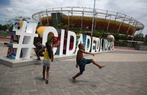 Local children take the opportunity to explore and have a kickaround at the Olympic Park