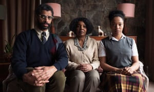 Naomi Ackie as Bonnie (far right) with Karl Collins and Nadine Marshall.