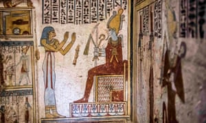 Hieroglyphics and illustrations inside the ancient Egyptian tomb, which was unveiled this week.