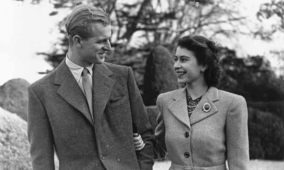 The Duke of Edinburgh and Princess Elizabeth at Broadlands, Hampshire, during their honeymoon, November 1947.