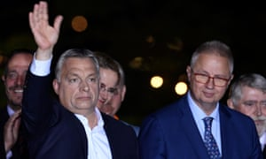 László Trócsányi, right, with Viktor Orbán after the European parliament elections in May.