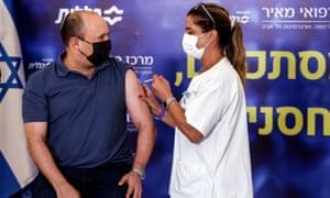 Israeli prime minister Naftali Bennett receives a third shot of Covid-19 vaccine last week.
