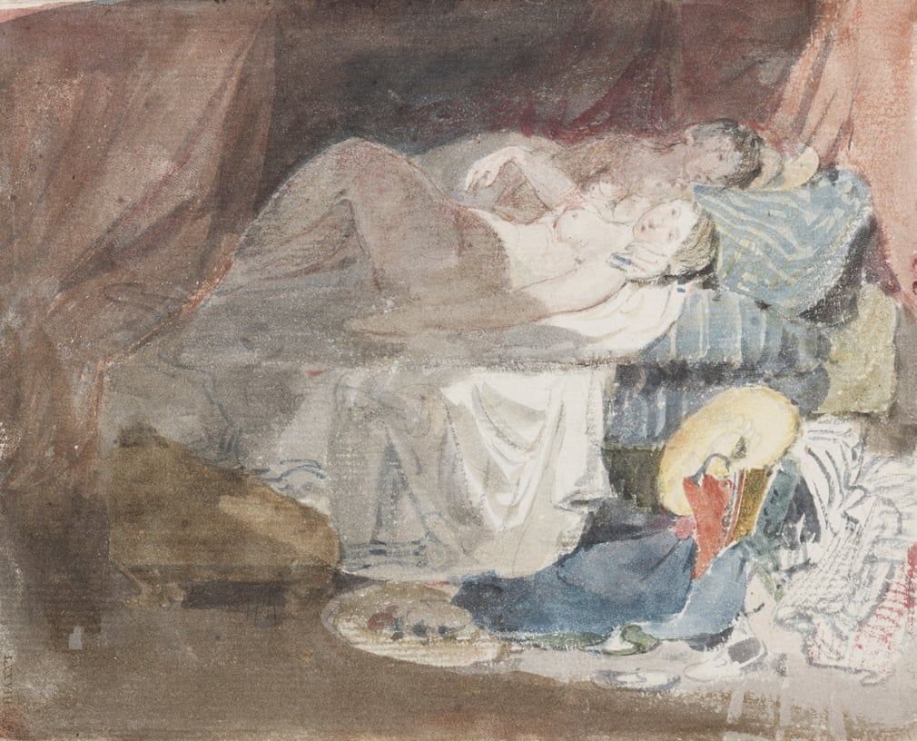 JMW Turner 'Nude Swiss girl and a companion on a bed'