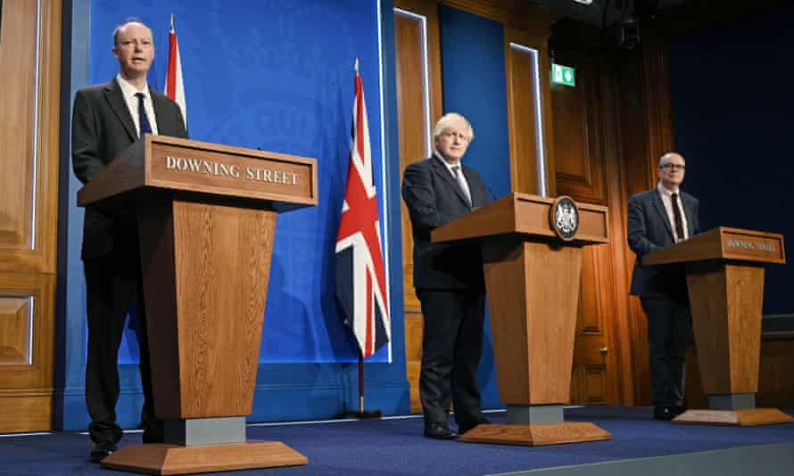 Boris Johnson gives an update on relaxing Covid restrictions at last Monday's press conference, alongside the chief medical officer for England, Chris Whitty, and chief scientific adviser, Patrick Vallance.