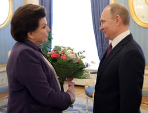 Russian president Vladimir Putin wishes Valentina Tereshkova happy 80th birthday.