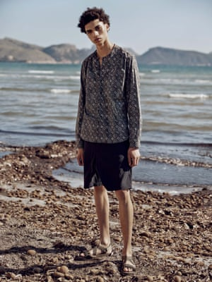Moroccan shirt, £129, and drawstring shorts, £130, both oliverspencer.co.uk. Necklace, £375, Black Dakini, harveynichols.com. Sandals, £19.99, hm.com