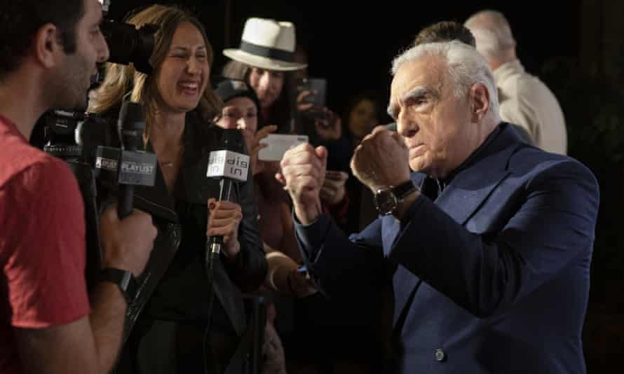 "Martin Scorsese jokes with journalists at the premiere of ""The Irishman"" in San Francisco."