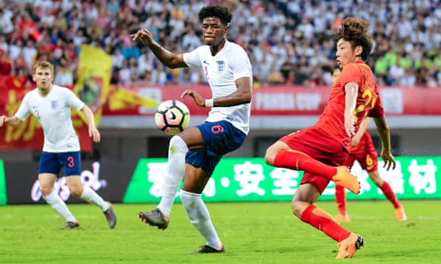Jonathan Panzo, centre, of England U19 National Team during the 2018 Panda Cup International Youth Football Tournament match against China