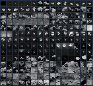 A year after the end of the Rosetta mission, these 210 images were released. Reflecting Rosetta's view of Comet 67P/Churyumov–Gerasimenko between July 2014 and September 2016, the sequence begins in the month leading up to Rosetta's arrival on 6 August, when the comet was barely a few pixels in the field of view. The Philae probe's landing is featured, with the 'farewell' images taken by both spacecraft of each other after separation, and by Philae as it drew closer to the surface at its first touchdown point. The mission ended with Rosetta making its own dramatic descent in September 2016.
