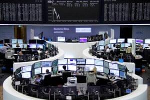 The German stock exchange in Frankfurt, Germany, today.