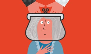 Illustration of hands in a purse which forms old lady's head