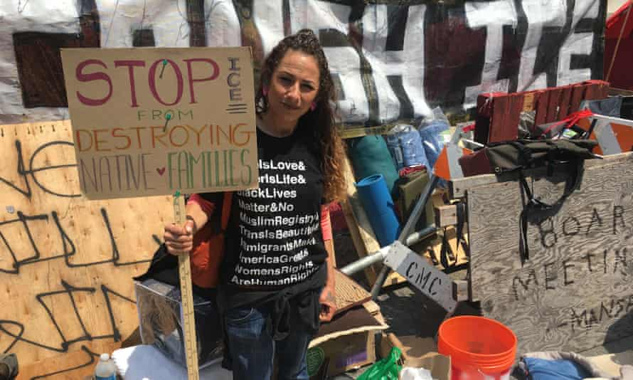 Heather Carranza demonstrates against Ice in San Francisco.
