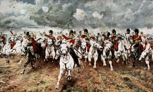 The charge of the Scots Greys at Waterloo, after the painting by Lady Butler.