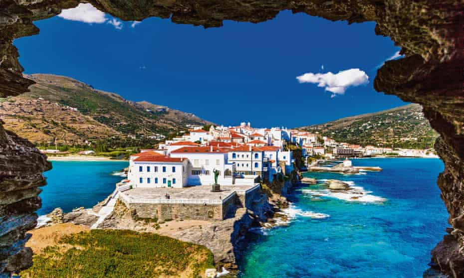 Andros island's picturesque main town is on a narrow peninsula on the east coast.