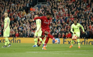 Divock Origi scores the fourth Liverpool goal against Barcelona in the Champions League semi-final at Anfield.