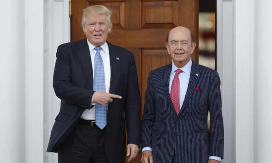 President-elect Donald Trump, left, stands with investor Wilbur Ross after meeting at the Trump National Golf Club Bedminster in New Jersey.