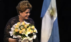 Former Brazilian president Dilma Rousseff acknowledges the audience during a meeting in Buenos Aires, Argentina