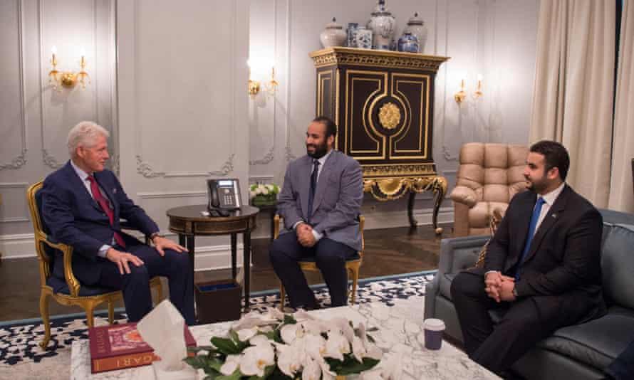 Former president Bill Clinton meets with Mohammed Bin Salman in New York.