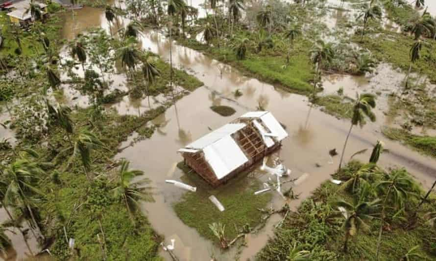 Destruction on Vanua Levu, Fiji's second-largest island, caused by category 5 Cyclone Yasa.