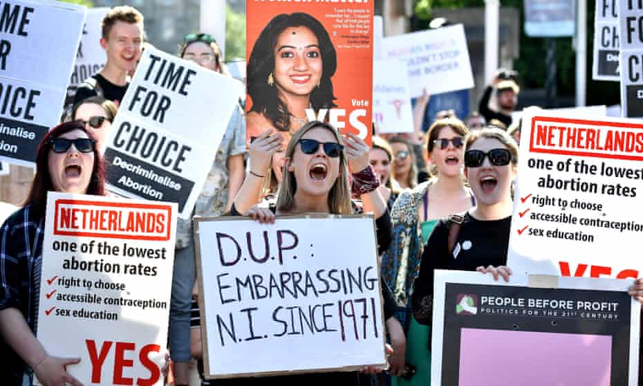 People protest against Northern Ireland's abortion laws