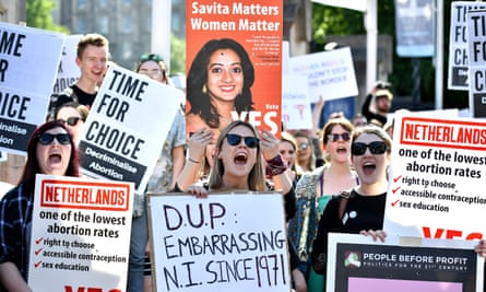 A rally calling for abortion rights outside Belfast City Hall on Monday.