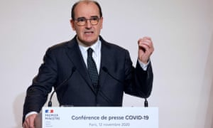 The French prime minister, Jean Castex, speaks during a press conference at the French health ministry.