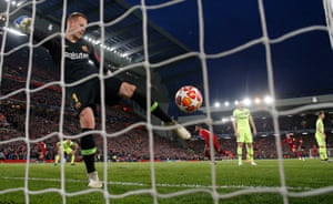 Barcelona keeper Marc-Andre Ter Stegen angrily boots the ball back into his own net after Geoginio Wijnaldum scores the 3rd Liverpool goal
