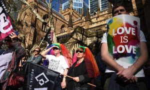 Supporters of same-sex marriage at a rally in Sydney.