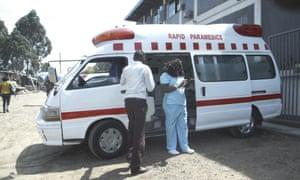 Kibera Rapid Paramedics' main ambulance photographed in Kibera, Nairobi, Kenya.