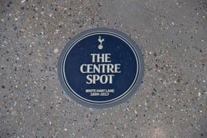 A plaque under the South Stand marking the position of the old centre spot