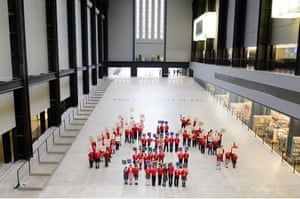 Children supporting a schools art initiative gather on Tate Modern's entrance ramp last week.