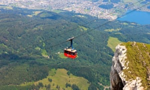 Cabin of the Mount Pilatus Cable Car above Lucerne, Switzerland.
