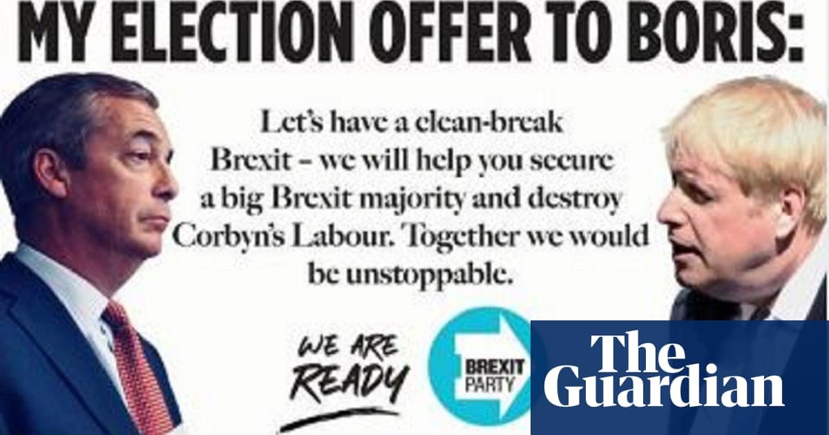 Nigel Farage offers Boris Johnson no-deal Brexit election pact