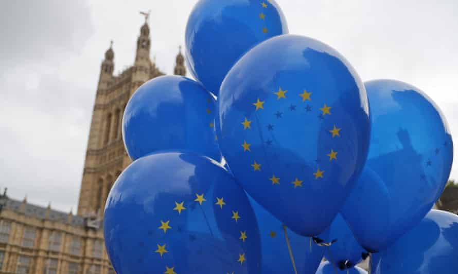 EU balloons outside the Houses of Parliament