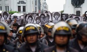 Demonstrators in Lima protest against the pardon of former Peruvian president Alberto Fujimori.