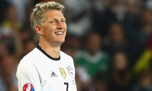 Bastian Schweinsteiger pictured playing for Germany in 2016. He won the World Cup with his country in 2014
