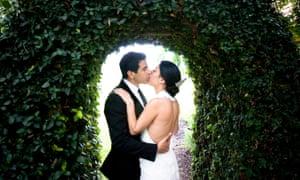 post wedding kiss