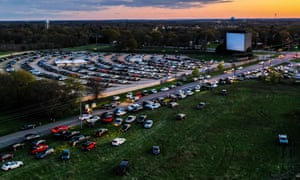 A Jurassic Park and The Flinstones double bill at the McHenry Outdoor Theater in Illinois.