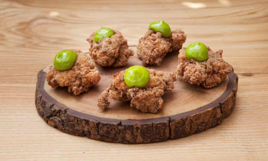 Fenn's FCC fried chicken with wild garlic puree: 'A feisty, peppery, high-end spin on KFC-style popcorn chicken nuggets.'