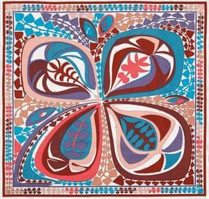 """A """"Quadrifoglio"""" print scarf, 1971, in cotton gabardine."""