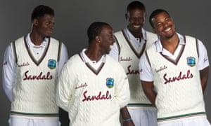 West Indies fast bowlers Alzarri Joseph, Kemar Roach, Jason Holder and Shannon Gabriel pose for a portrait.