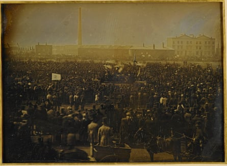 A daguerreotype of the Chartist meeting at Kennington Common.