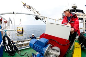 The ROV prepares for descent in the Devil's Hole, UK.