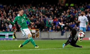 Gavin Whyte scores Northern Ireland's third goal after coming off the bench in the second half.
